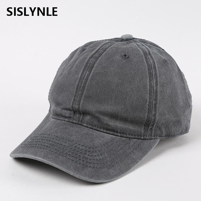 SISLYNLE Hoge kwaliteit gewassen katoen Verstelbare effen baseballcap - Kledingaccessoires