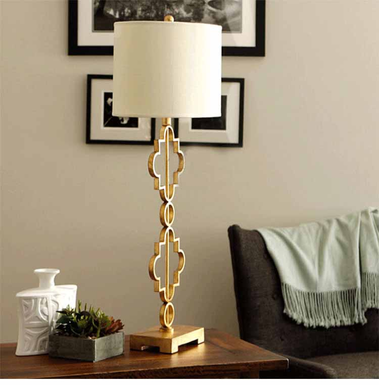 Industrial Coffee Table Lamp: Modern Chinese Style Iron Fabric Gold Edison Table Lamps