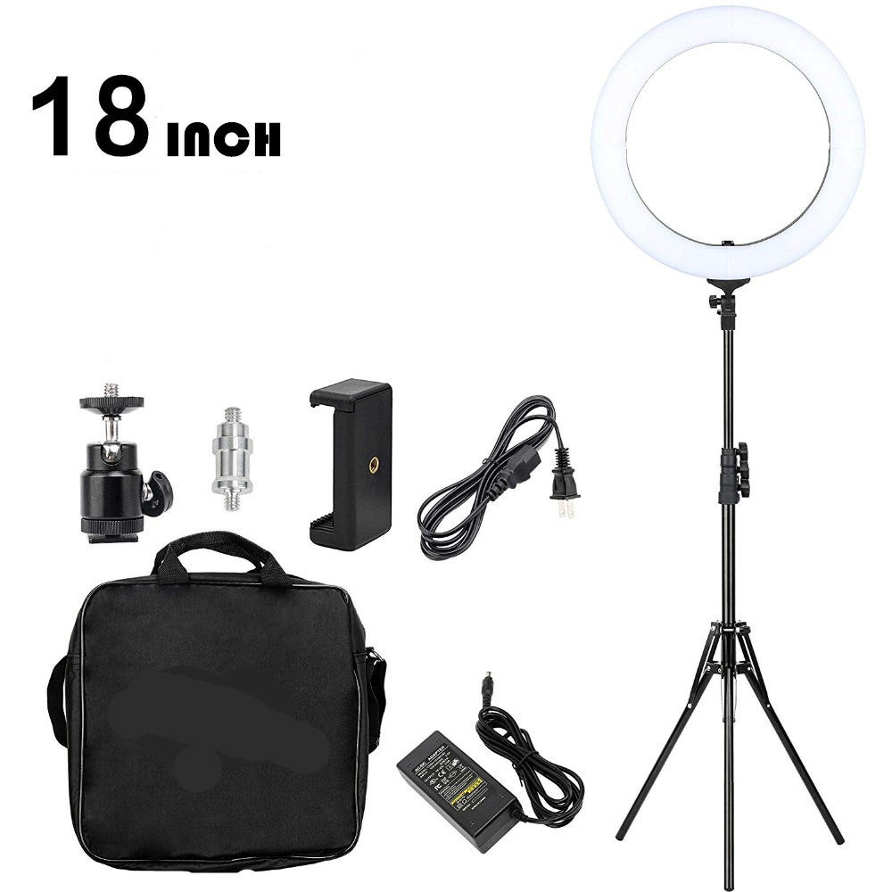 GSKAIWEN 18 inch Ring Light LED Dimmable Camera Photo Light For Studio/Phone Photography Ring Light Lamp&Tripod StandGSKAIWEN 18 inch Ring Light LED Dimmable Camera Photo Light For Studio/Phone Photography Ring Light Lamp&Tripod Stand