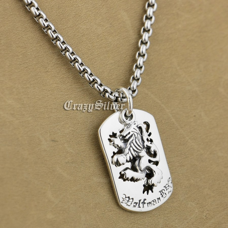 925 Sterling Silver King Lion Dog Tag Biker Pendant 9S020A 316L Stainless Steel Necklace 24 inches