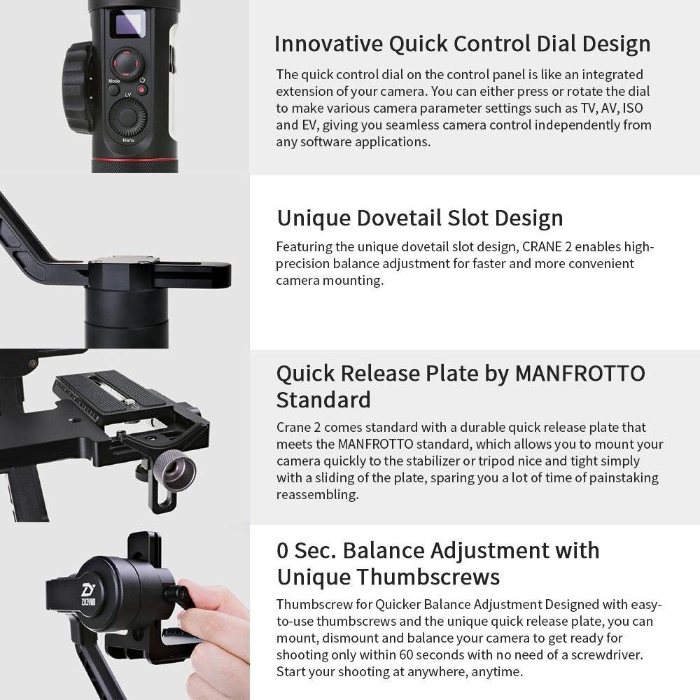 Zhiyun Crane 2 3 eje cardán portátil cámara de vídeo giroscopio estabilizador para DSLR con enfoque de seguimiento remoto 3,2Kg de carga útil pantalla OLED - 6