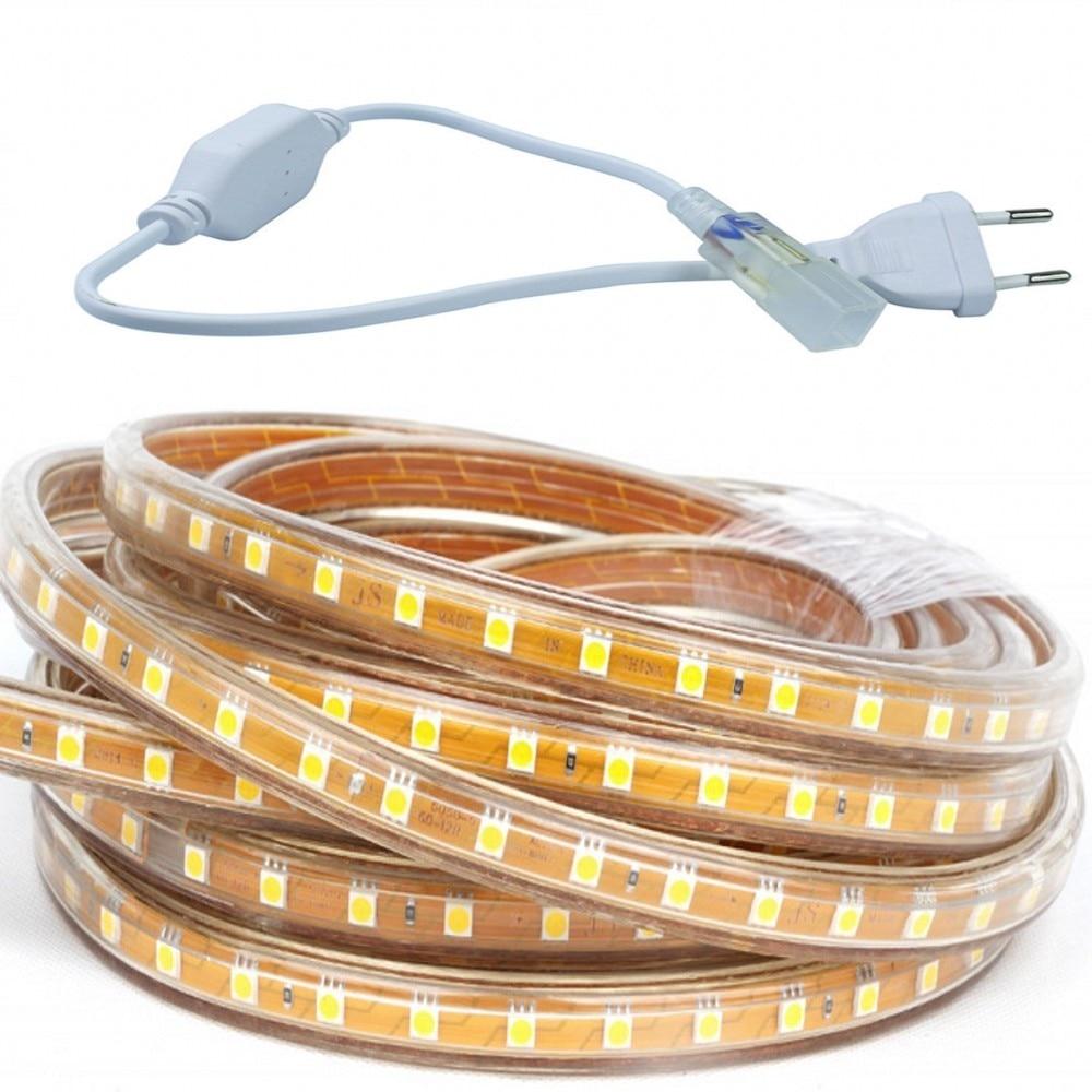Waterproof SMD5050 led tape AC220V white flexible led strip 60 leds/Meter outdoor garden lighting with EU plug 25 meter - 2
