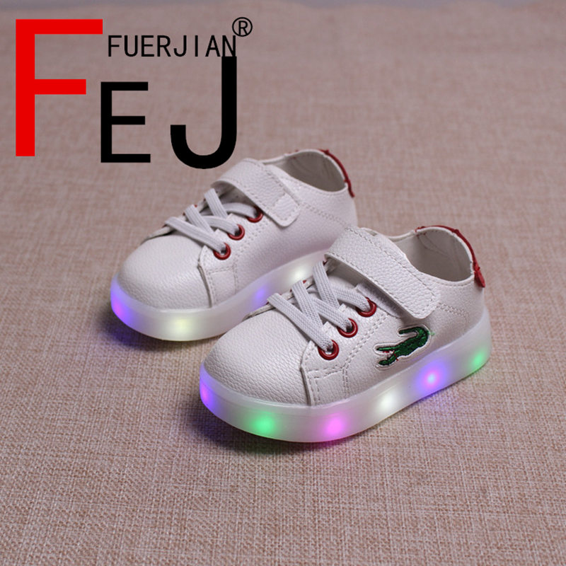 Kids Lights Up Shoes 2017 FUERJIAN Casual Fashion Boys Girls Led Shoes Sneakers Rubber Transparent Children