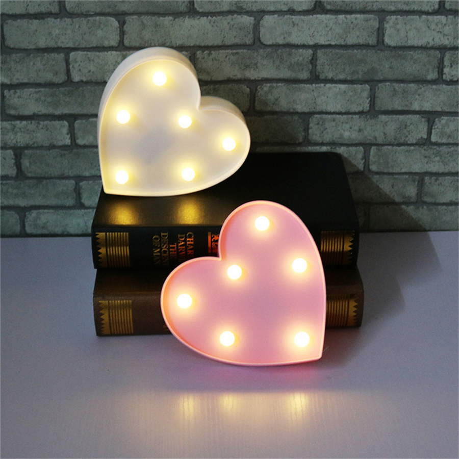 Romantic Heart Night Lamps 3D Marquee Letter LED Night Light Home Indoor Bedroom Wedding Birthday Party