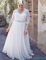 Empire Chiffon Wedding Dresses Three Quarter White Or Ivory New Arrival High Quality Bridal Dress Custom Make