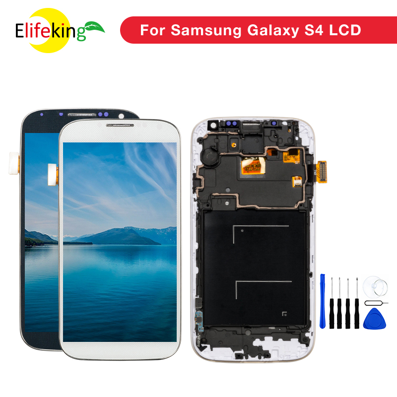 Mobile Phones Display LCD with frame For Samsung Galaxy S4 i9500 i9505 Lcd Screen Digitizer Assembly Spare Parts Free Shipping