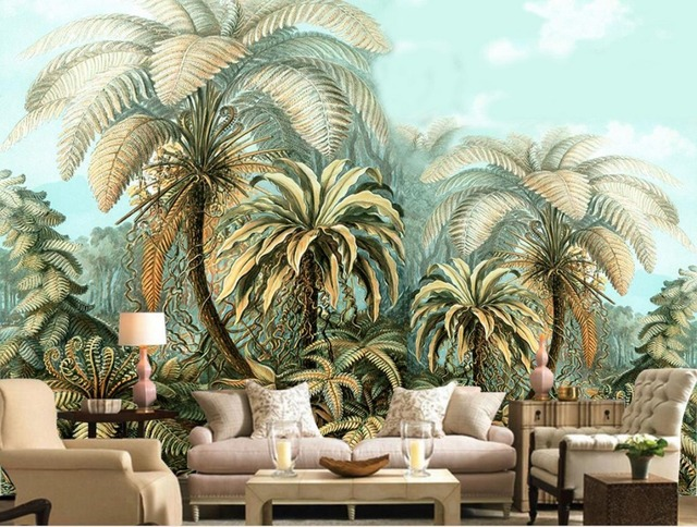 Large Backdrop 3d Wallpaper Mural Hand Painted Tropical Plants Wallpapers  For Living Room Bedroom Decorar