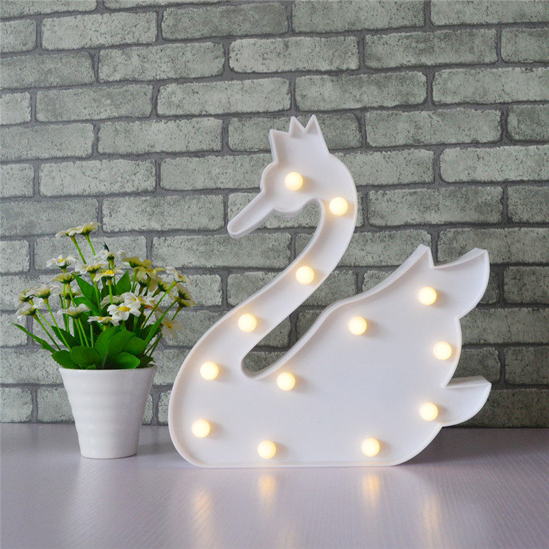 Cute Swan 3D Marquee Sign Light 13 LEDs Letter Lamp Night ...