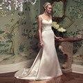 Vestido de novia Barato Backless Largo Cristalino de la Sirena Vestidos de Novia 2017 Vestido De Noiva