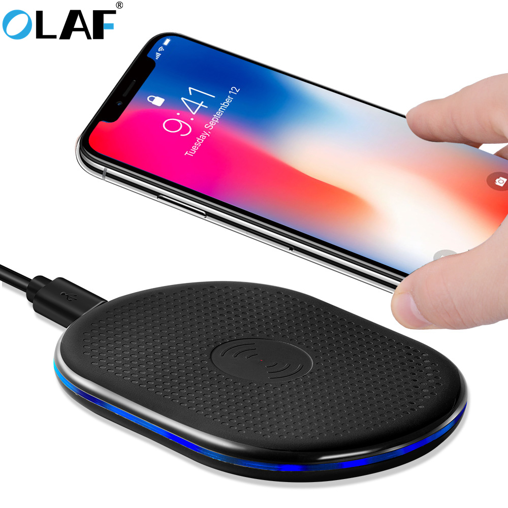 buy oalf qi wireless charger charging induction charger for iphone x 8 plus for. Black Bedroom Furniture Sets. Home Design Ideas