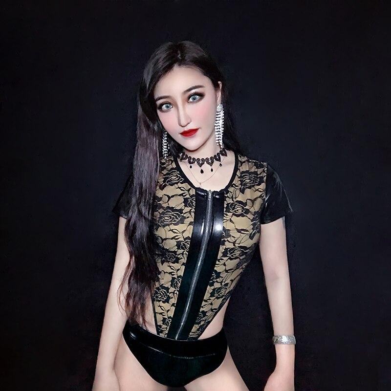 New Nightclub Jumpsuit Black Lace Stage Costume GoGo Dance Bar Party Female Rave Clothes DJ Pole Dance Leading Dance Wear BL1670