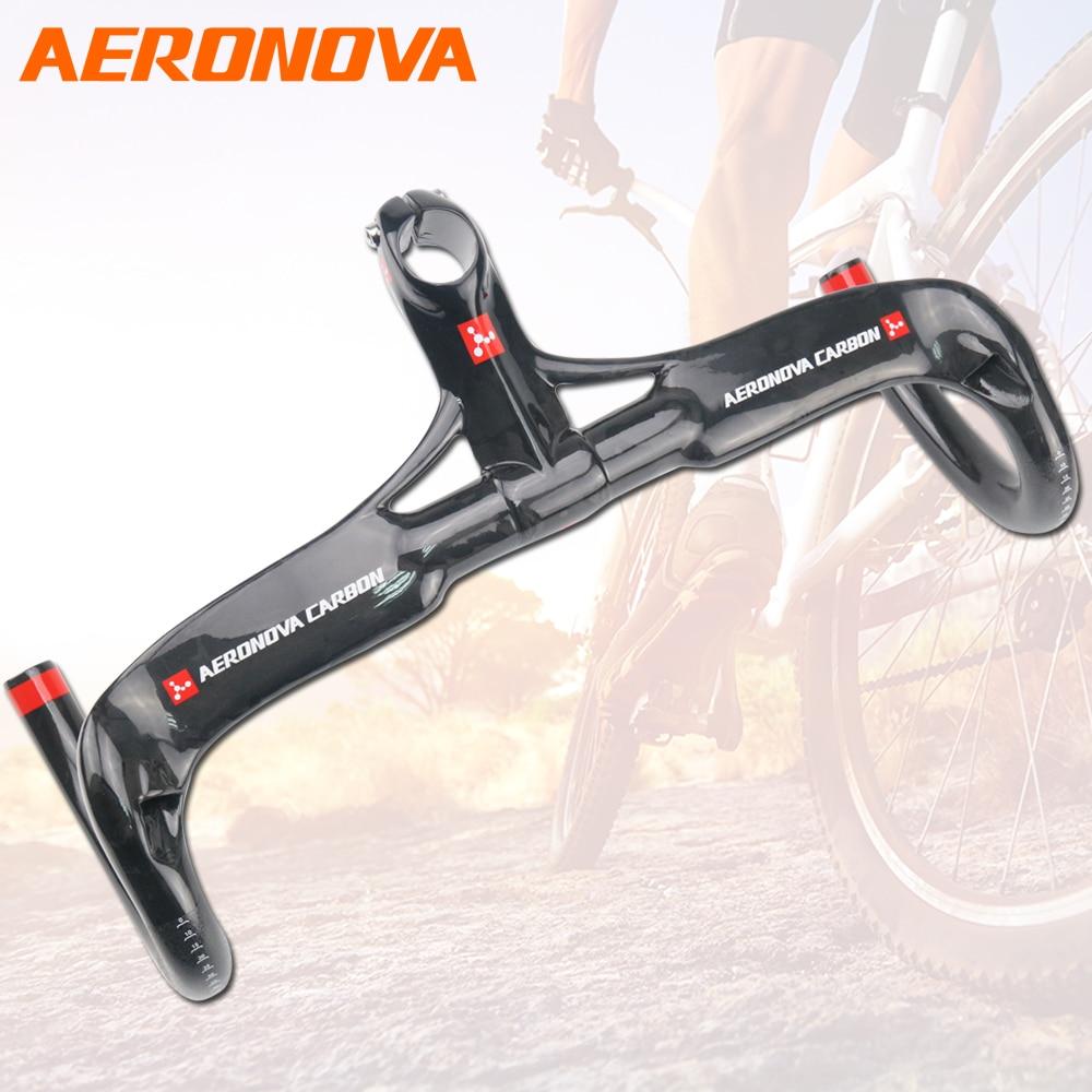 AERONOVA Bicycle Carbon Handlebar 3K Glossy Ultralight Carbon Fiber Integrated Handlebar With Stem 28.6mm Handlebars tator rc 3k carbon fiber plate 3 5mm tl2900