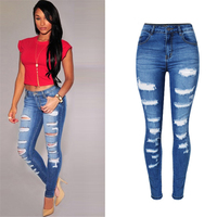 2018 Summer Plus Size Skinny Jeans Women Denim Pants Holes Destroyed Knee Pencil Pants Casual Trousers blue Stretch Ripped Jeans