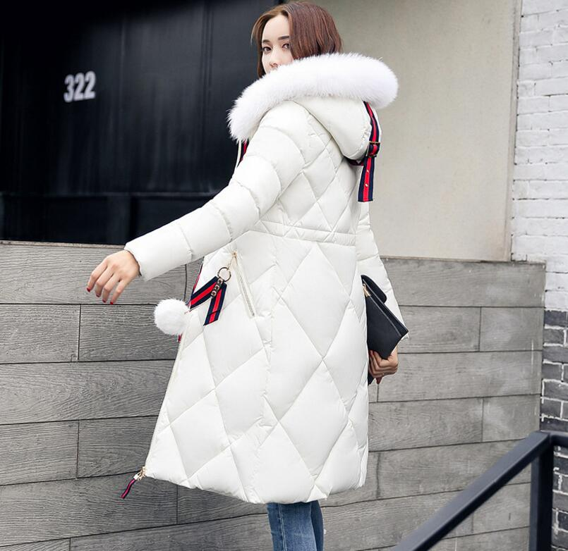 2017 New Women Long Winter Zipper Jacket Warm Cotton Coat Pure Color Hooded Fur Collar Female Thick Parkas Wadded Outerwear 3XL women winter coat leisure big yards hooded fur collar jacket thick warm cotton parkas new style female students overcoat ok238