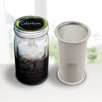 Realand Premium Stainless Steel Mason Jar Cold Brew Coffee Maker and Iced Tea Infuser Loose Leaf Tea Mesh Filter Strainer
