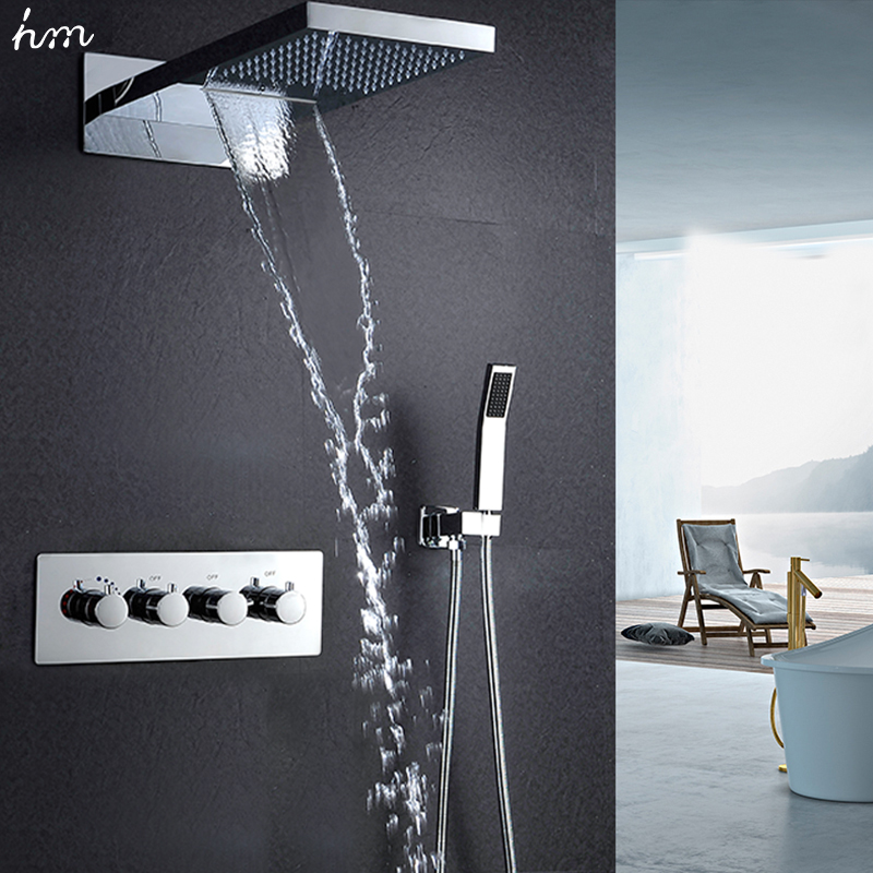 hm 22Waterfall Rain Shower Sets Faucet & Hand Shower SUS304 Luxury 4 Function Spa Waterfall Massage Bathroom Fixture Shower Set