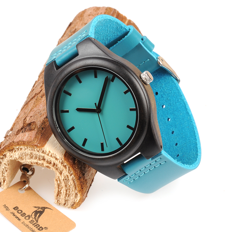BOBO BIRD WF20 Bamboo Wooden Watches Hot Blue Leather Band Ebony Pine Wood Case Quartz Watch For Men Women