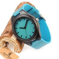 BOBO BIRD WF20 Bamboo Wooden Watches Hot Blue Leather Band Ebony Pine Wood Case Quartz Watch for Men Women Network Switches