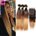 Remy Brazilian Virgin Hair Straight With Closure 3 Bundles With 4*4 Ombre Lace Closure Ombre Human Hair Bundles With Closures