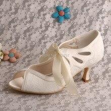 Wedopus MW539 Среднего пятки Кружева Свадебная Обувь Свадебные Дамы Peep Toe Индивидуальные