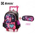 Luxcel rueda niño niña de dibujos animados bolsa de la escuela carro mochila plegable para niños moda niños mochilas back to school