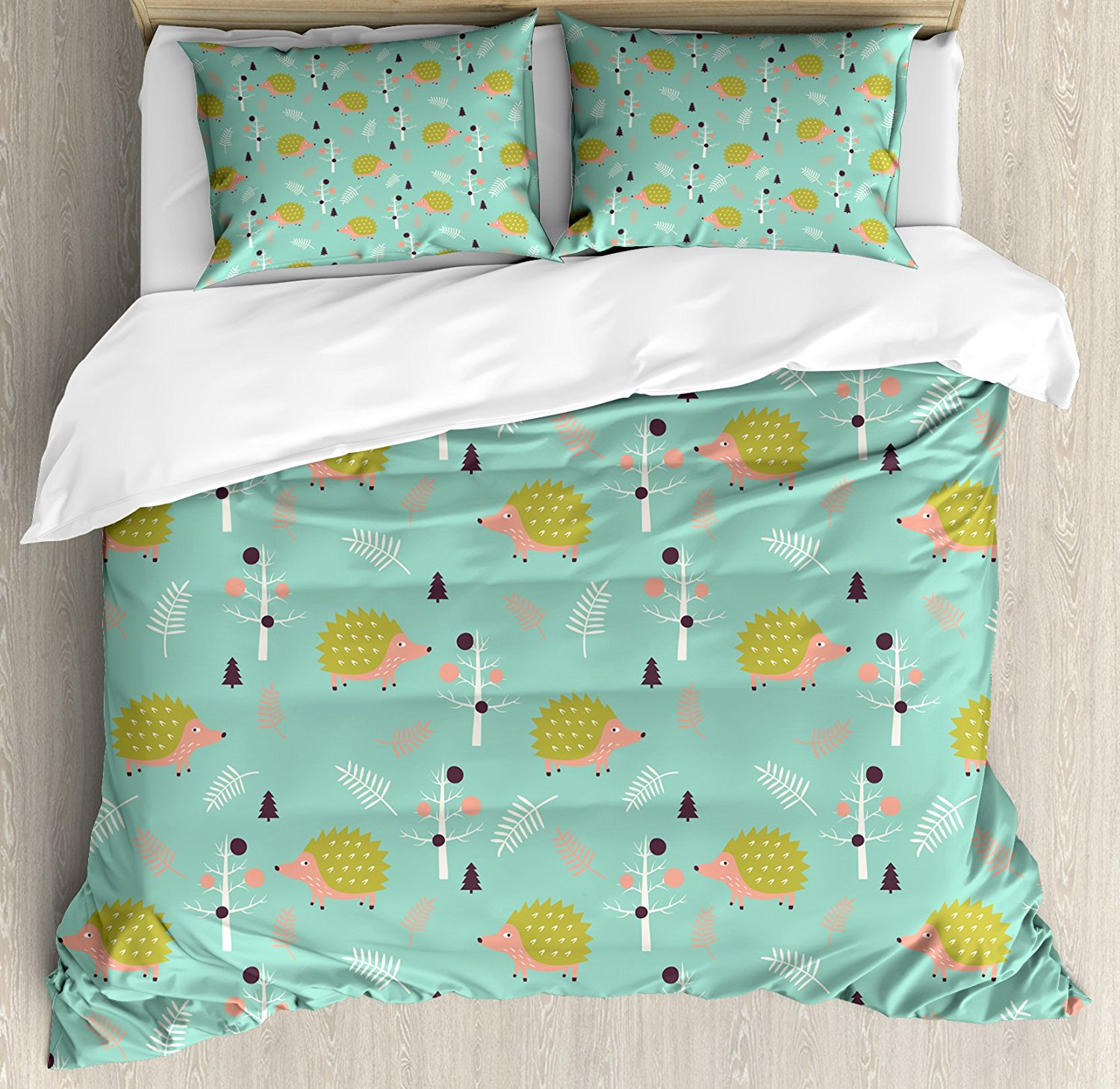 Duvet Cover Set, Scandinavian Art Pattern Forest Elements Pine Trees Leafless Branches Countryside, 4 Piece Bedding Set