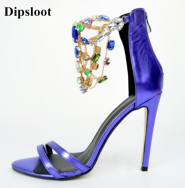 Dipsloot 2017 Bling Bling Crystal Embellished High Heels Dress Wedding Shoes Woman Peep Toe Gladiator Sandals Back Zipper Shoes