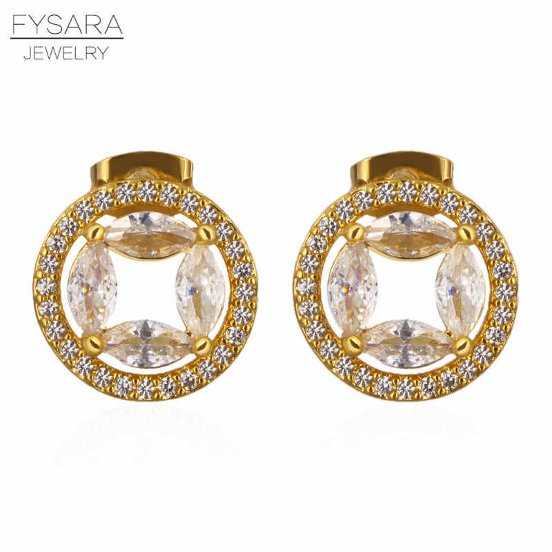 FYSARA Dubai Style Hollow Circle Women Crystals Earrings Fashion Wedding Austrian Stone Tiny Stud Earrings Jewelry