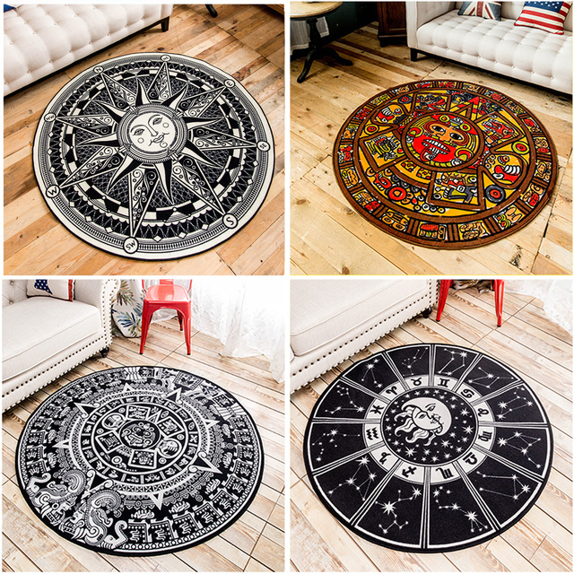Nylon Fabric Black White Sun Maya Constellation Design Round Rugs Geometric Triangl Pattern