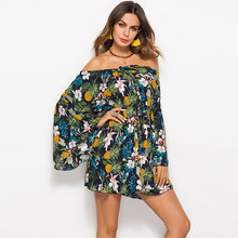 Printed Off-Shoulder Mini Summer Dresses Women Flare Sleeves Multicolor High Waist Sexy Dress Beach Dress Casual Vintage New