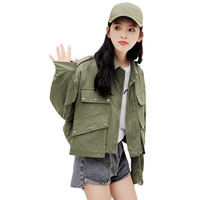 2019 Women Oversized Army Green Jacket Military Style New Korean Fashion Loose Fit Jackets Streetwear