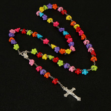 2019 New Products 8mm Polymer Clay Rose Beads Rosary Catholic Necklace with Holy Cross Medal Prayer Religious Neckla