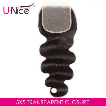 Unice Hair Swiss Transparent Lace Closure Brazilian Body Wave 5x5 Hair Lace Closure Natural Black Remy Human Hair 10-18 Inch - DISCOUNT ITEM  30% OFF All Category