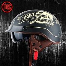 TORC moto casque vespa vintage harley d'été demi casque avec visière intérieure jet rétro capacete casque moto casque DOT T55
