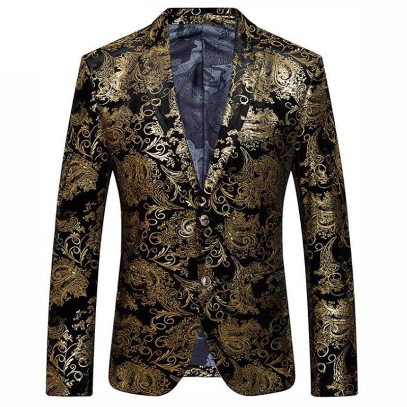 Black Gold Blazer Men Paisley Floral Pattern Wedding Suit