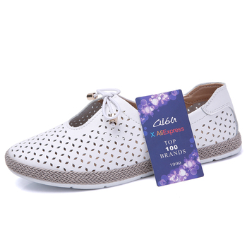 O16U Women Flats Shoes Ballet Flat Sneakers Genuine Leather slip on Moccasins ladies Boat White Ballerina Espadrilles Creepers