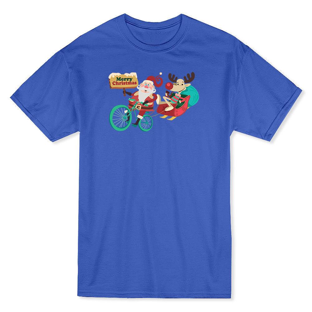 Santa & Rudolph Bikeer & Sleigh Merry Christmas Banner Mens Royal Blue T-shirt Short Sleeves Cotton T-Shirt top tee