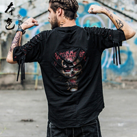 BBOY Men fashion Skull Hole Summer Streetwear Hip Hop Loose T shirt Male Korean Harajuku Patchwork Color Tee Shirt Dance BF Tops