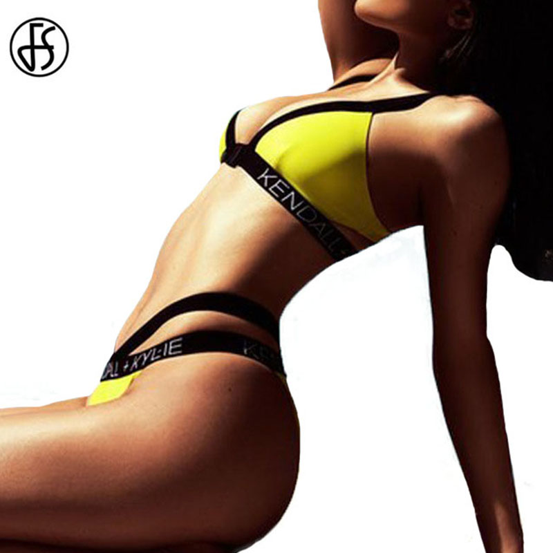 FS High Waist Yellow KENDALL KYLIE Letter Swimsuit Bikinis Set Bandage Women Swimwear Brazilian Biquini Cut Out Bathing Suit scuba dive light
