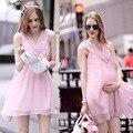 2016 Summer Maternity Dresses V-neck Sleeveless Knee-length Casual Clothing For Pregnant Women Pregnancy Clothing Vestidos