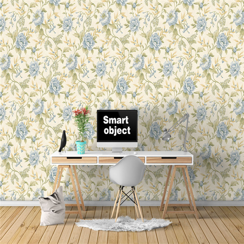 Custom Large Wall Papers American Style Wall Murals Modern Vintage Blue Flowers Leaf Photo Wallpapers for Living Room Home Decor цена
