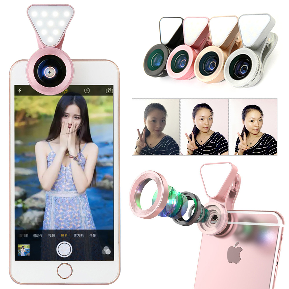ET 3 in 1 Phone Lens Universal Camera Lens w/ Led Flash Light 0.4X-0.6X Wide Angle Macro Clip-on Cell Phone Lenses for iPhone