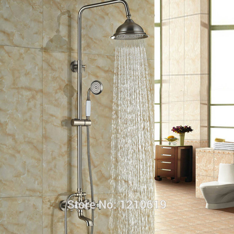 Newly Nickel Brushed Bathroom 8 Shower Set Faucet w Ceramic Hand Shower Wall Mount Shower Mixer Tap One Handle