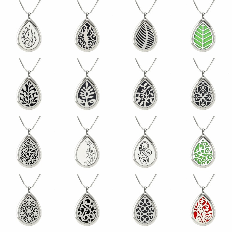 Water Drop Shape Stainless Steel Aroma Perfume Locket Essential Oil Diffuser Locket Pendant With S.S Necklace Chain 10pcs Pads 30mm yl logo magnet 316 stainless steel car aromatherapy locket free pads essential oil car perfume lockets drop shipping
