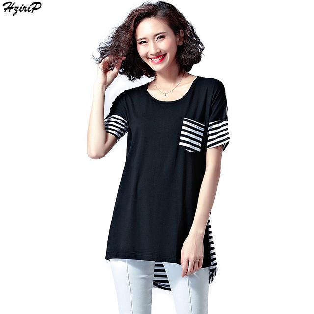 Nova Chegada do Verão Das Mulheres T-Shirt O-pescoço Manga Curta Listrada Imprimir Solta T-shirt Plus Size Ocasional Básico Tops Camiseta Femme