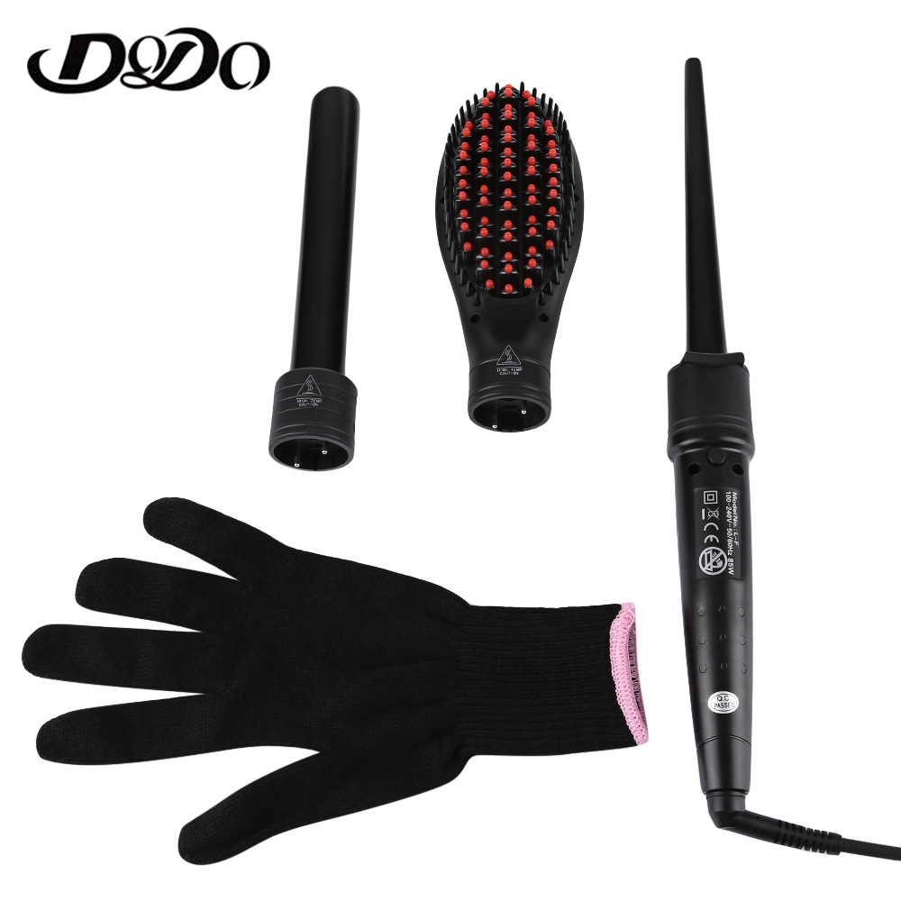 DODO Electric 3 in 1 Dual Use Multifunction Ceramic Curling Iron Hair Curler Straightener With 2 Curling Wand EU & US Plug kemei km 1213 professional multifunction 3 in 1 electric ceramic iron wave hair curler straighter 220v barrel clamp alumina