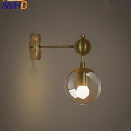 IWHD Nordic LED Wall Lights Iron Creative Modern Wall Lamp Glass Loft Bedside Sconces Fixtures Home Lighting Arandela Luminaire modern wall lamp glass ball led wall sconces bedside wall light fixture bedroom luminaria home lighting vintage lamp