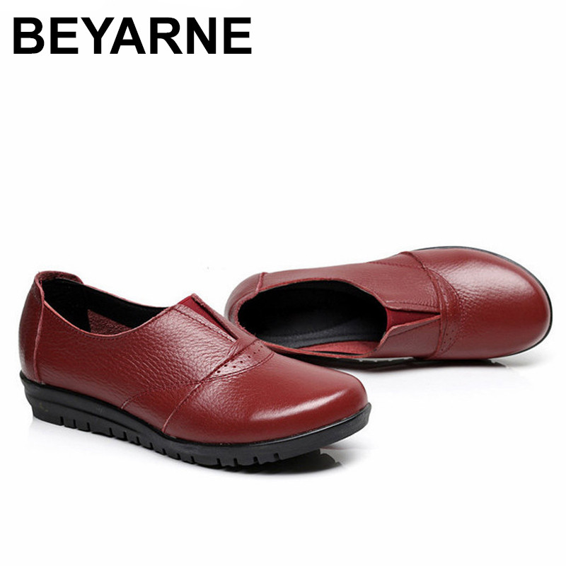 BEYARNE  Genuine Leather Women's Casual Shoes Non Slip Flats Shoes Women Soft Mother Loafers Slip On Shoes fashion brand genuine leather shoes for women casual mother loafers soft and comfortable oxfords lace up non slip flat moccasins