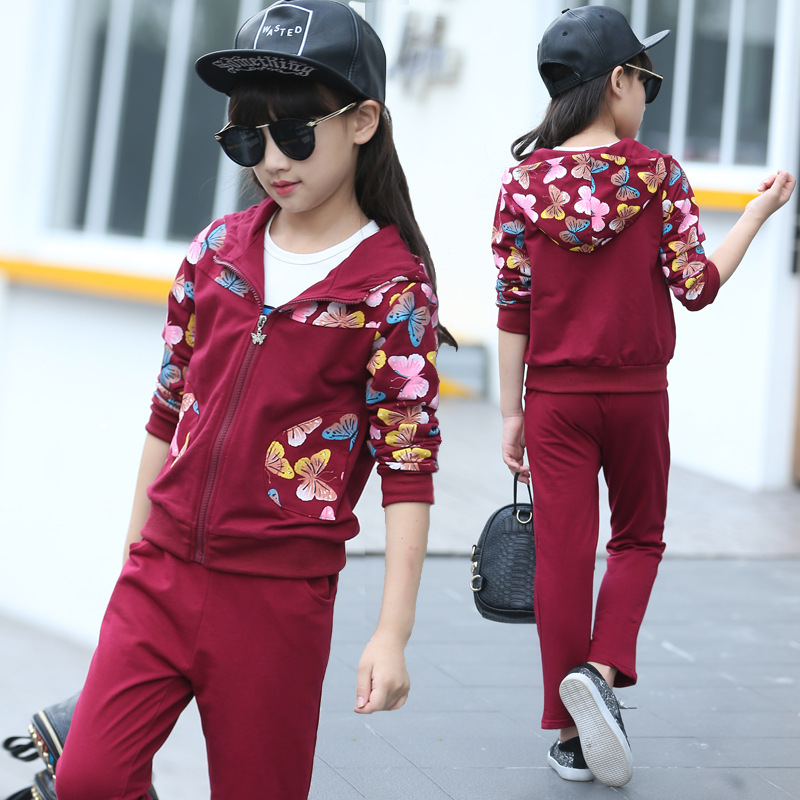 Girls Boys clothing set jacket Floral Sports Hoodies+Pants 2Pcs Suits Children Girls Clothing Sets For Girl Kids Sport Clothes children clothing for autumn kids set boys and girls long sleeved sport clothes sets teenager hoodies pants outfits 2pcs