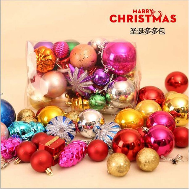 A Bag 40 50Pcs Balls Christmas Decoration Ball Ornaments Multi Package  Christmas Tree Package
